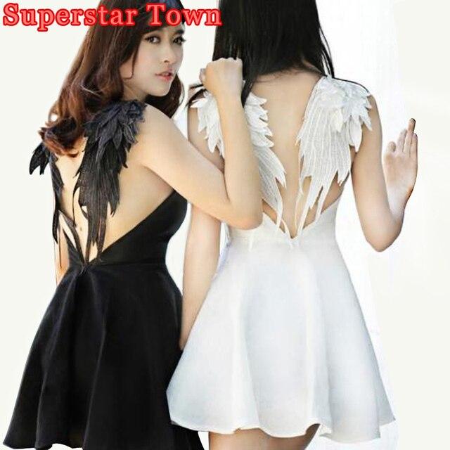 Dark Angel Wings Embroidery Dress Sexy Summer Backless Dress Лолита Готическая Лебедь Платья Для Свадьбы Hot