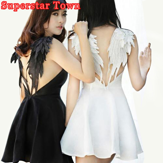 0a3aba37ea Dark Angel Wings Embroidery Dress Sexy Summer Backless Dress Lolita Gothic  Swan Dresses For Party Wedding