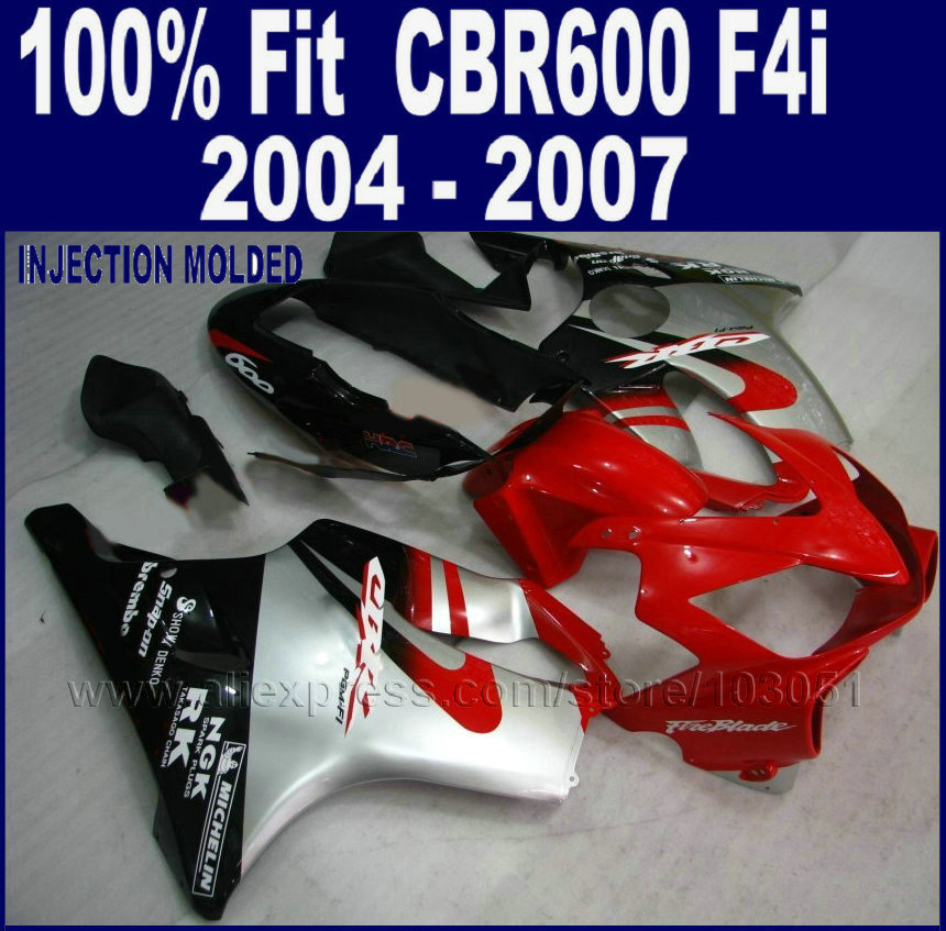 ABS Injection fairings kit for Honda cbr 600 f4i 04 05 06 07 cbr 600 f4i 2004 2005 2006 2007 red black set fairing parts injection molding fairing kit for kawasaki zx14r 06 07 08 09 2006 2009 wine red black 100% abs zx14r fairings op01