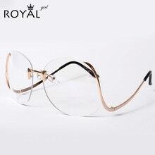 ROYAL GIRL 2016 NEW Unique Eyeglasses Women Rimless frames glasses Oversized ss380