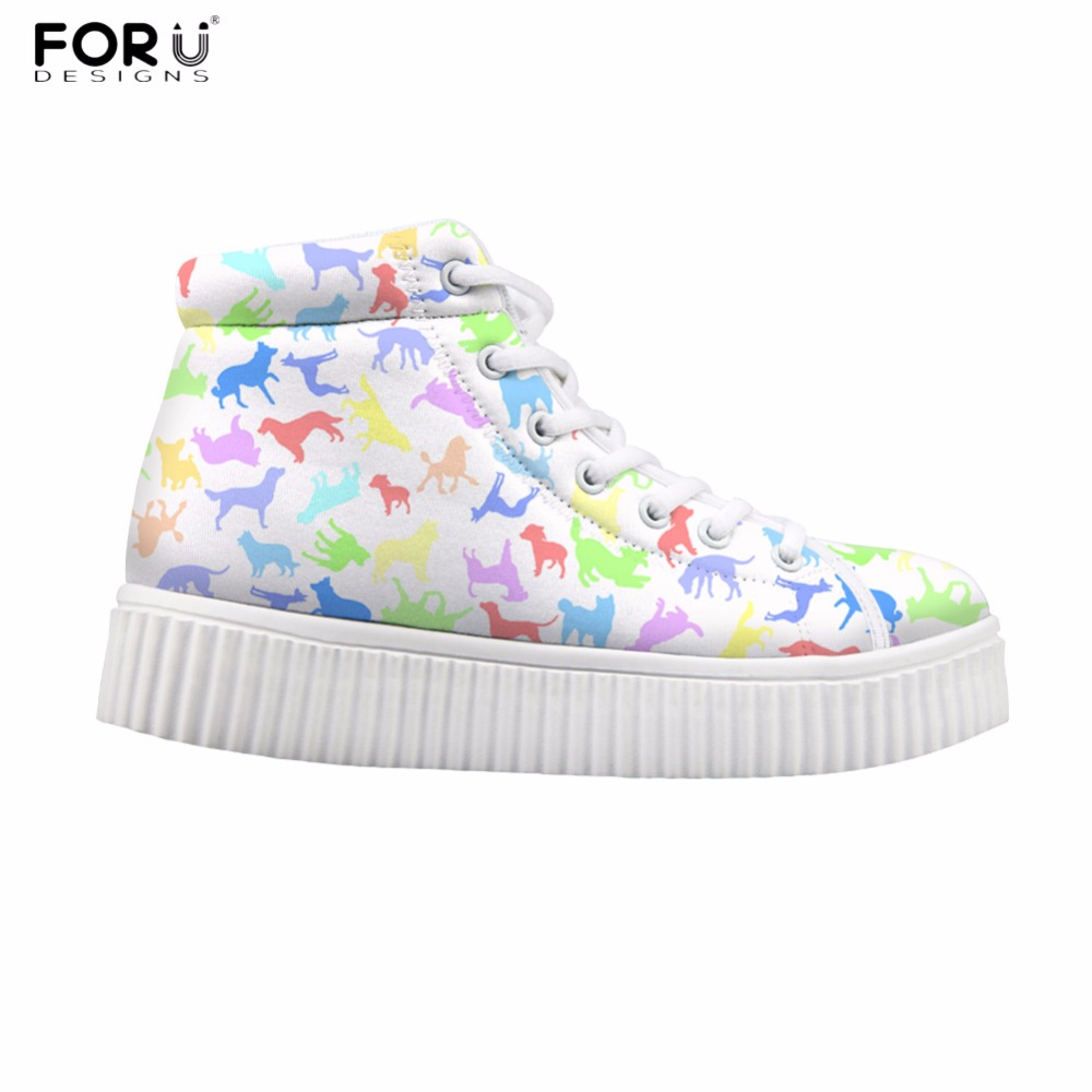 FORUDESIGNS Cute White Women Casual Sneakers Animal Dog Puzzle Women Classic High Top Platform Shoes Flats for Teeage Girls 2017 forudesigns cute animal dog cat printing air mesh flat shoes for women ladies summer casual light denim shoes female girls flats