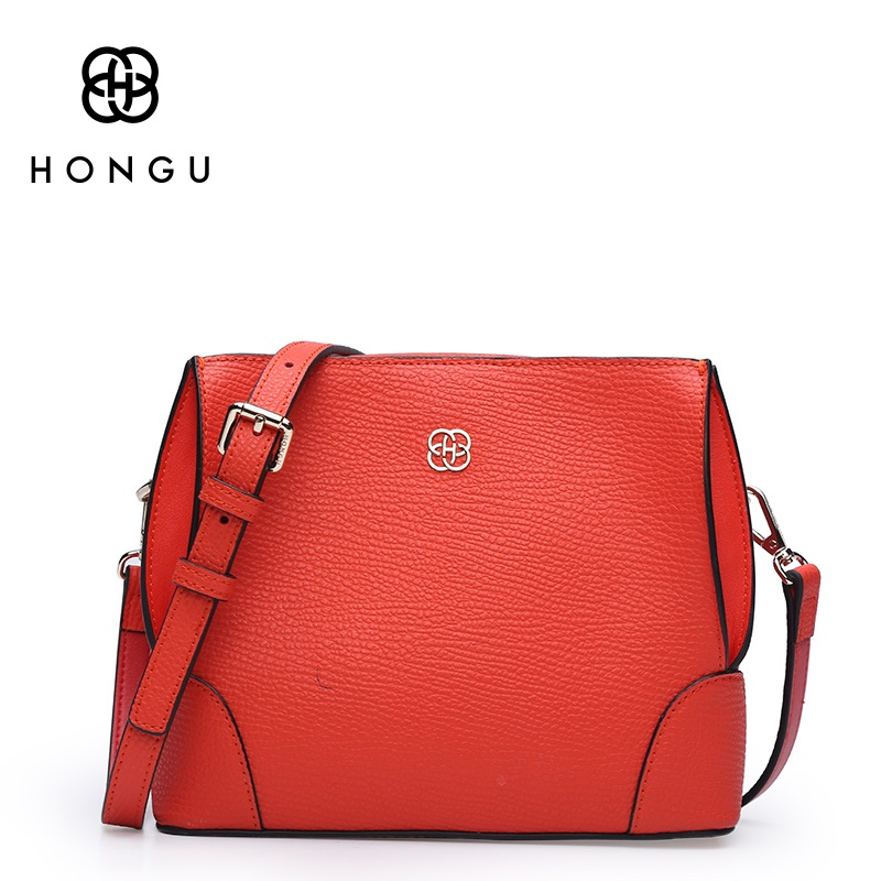 HONGU Luxury Brand Bucket Bag Women Split Leather Shoulder Messenger Bag Lady Real Cowhide Orange Cross Body Purse Bag fashion genuine real cowhide leather bucket women handbag shoulder designer purse cross body satchel hobo messenger lady bag