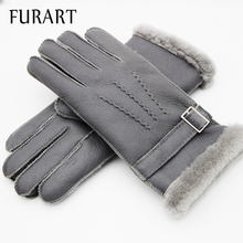 FURART Warm Winter 2017 Mittens Gloves Mittens womenswear Brand Manual  Genuine Leather Gloves Winter Sheep Skin Leather Gloves