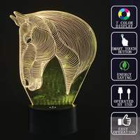 3D Lovely Animal Horse USB LED Night Light Touch Switch 7 Color Changing Table Desk Lamp