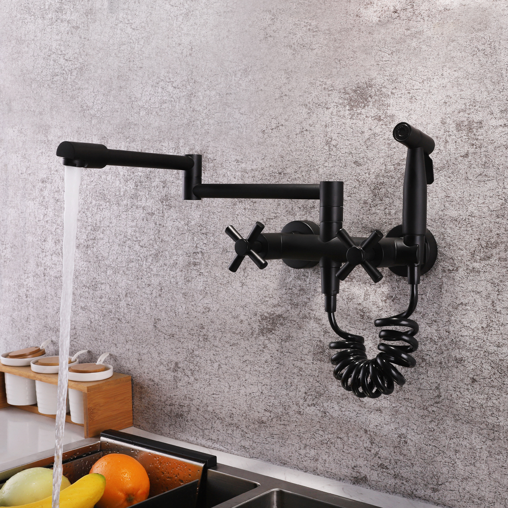 SKOWLL Wall Mounted Stream Sprayer Kitchen Faucet Dual Handle With Sprayer Flexible 360 Degree Rotating Folding Spout