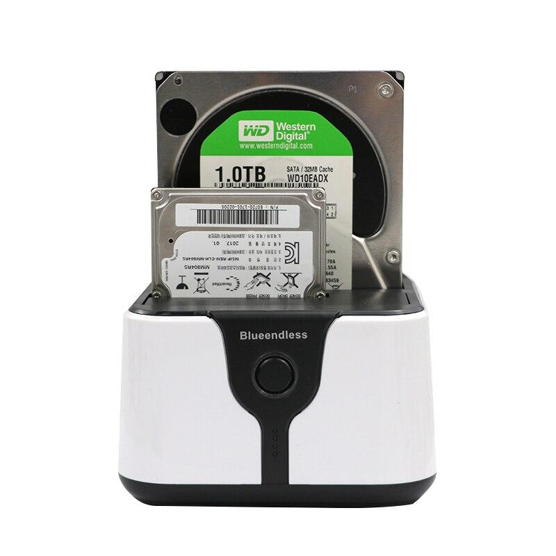 Blueendless 2-Bay SATA station d'accueil pour disque dur 3.5 2.5 USB3.0 double bay hdd ssd clone duplicateur dock station sata boîtier de stockage