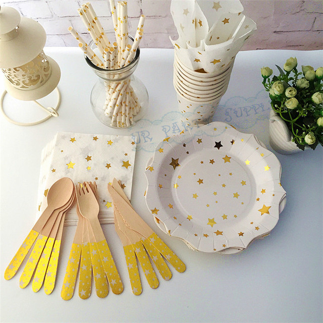 40 People Gold Dessert Table Setting Party Paper Plates Cups Straws ...