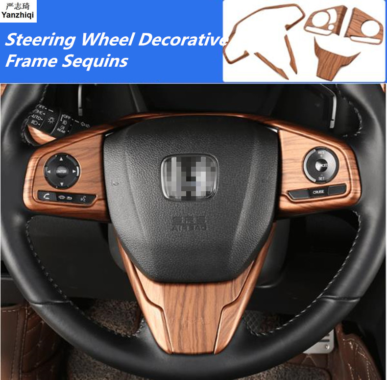 ABS Chrome Carbon Fiber Peach wood grain Steering Wheel Cover Trim Decoration Sequins For Honda CRV CR-V 2017 2018