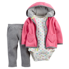 New Brand 2016 Baby Girl's 3 Pieces Sets Fashion Style Regualr Full Sleeve Heart Hooded Coat+O-Neck One Piece Romper+ Pants