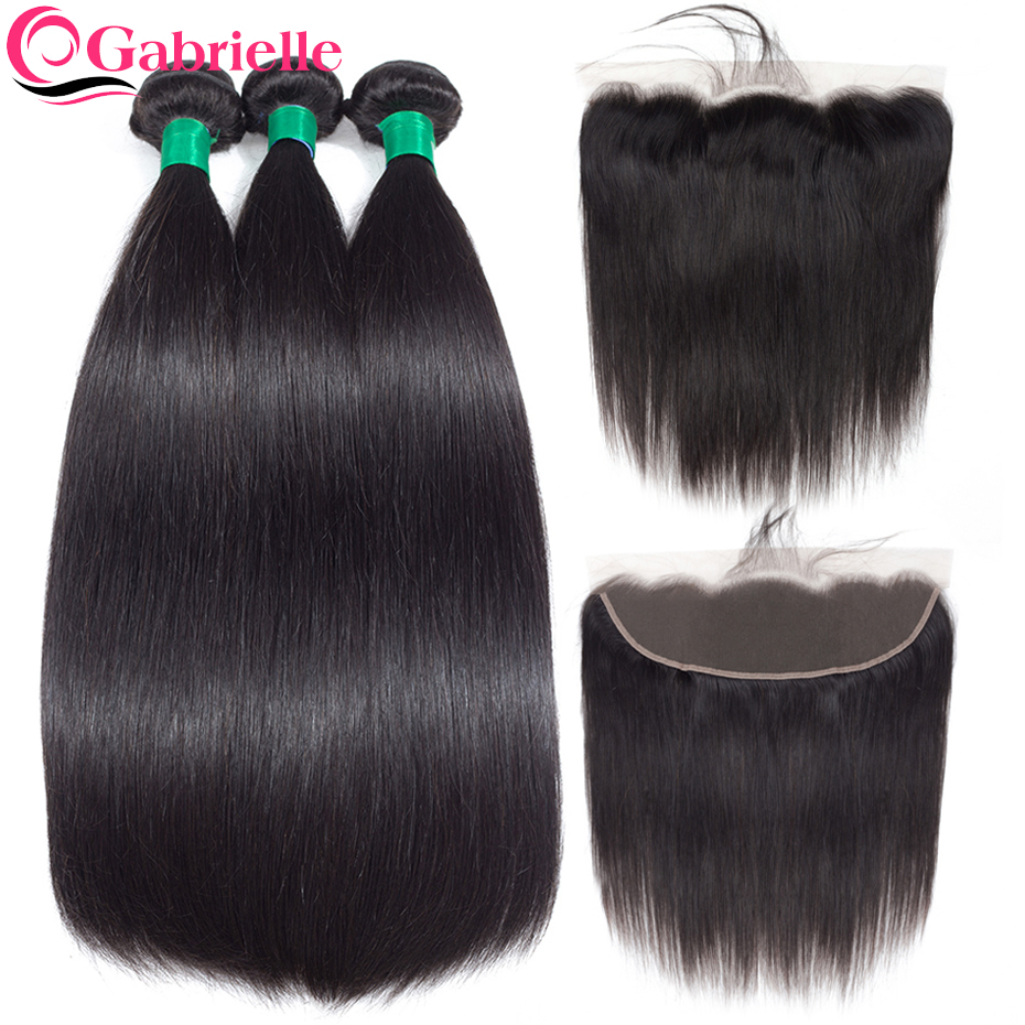 Gabrielle hair straight bundles with frontal brazilian hair weave bundles 100 human hair closure with bundles