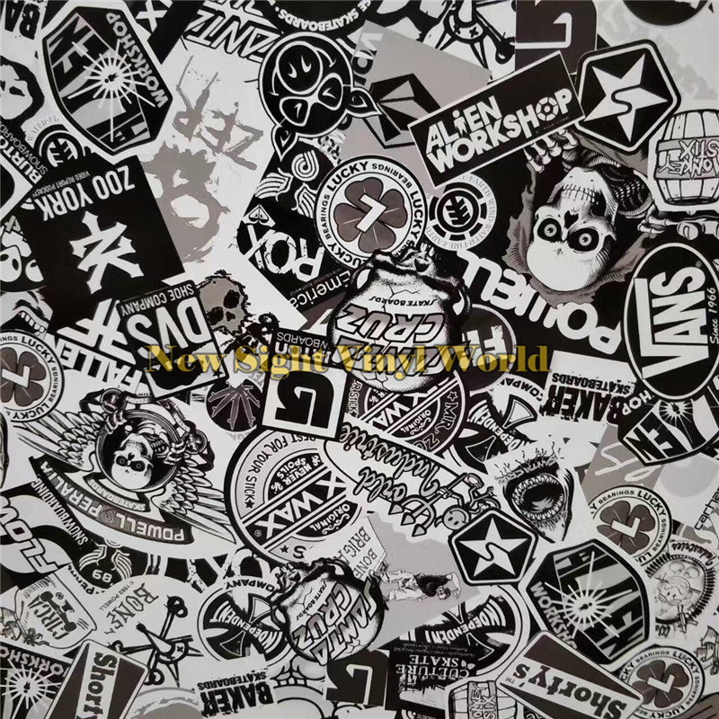 Premium Sticker Bomb Black White Bombing Vinyl Roll Film Air Bubble Free Vehicle Wrap Graphics Car Wrapping In Stickers From Automobiles