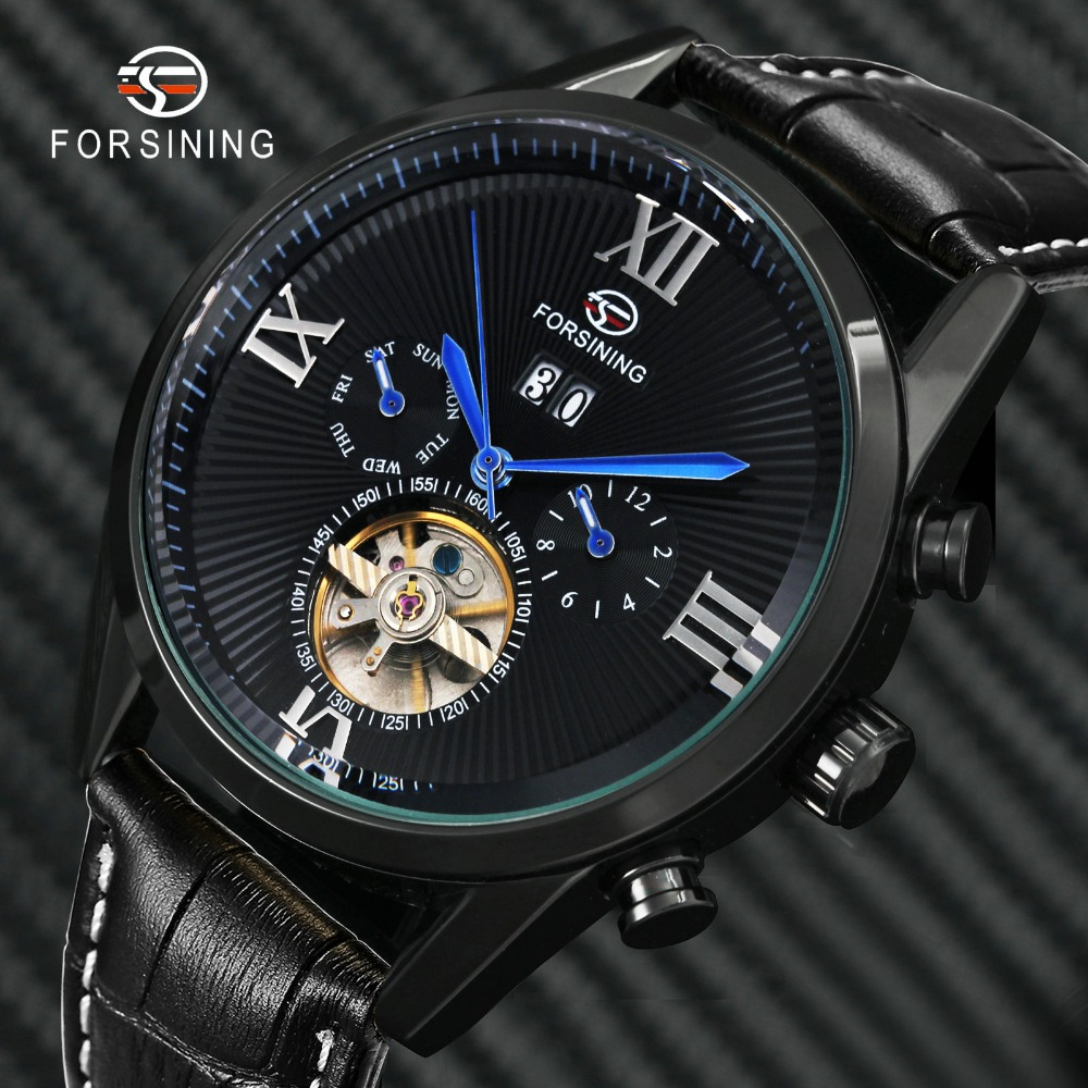 FORSINING Fashion Vintage Tourbillon Auto Mechanical Watch Men Top Brand Luxury Black Leather Strap Date Display Wristwatches|Mechanical Watches| |  - title=