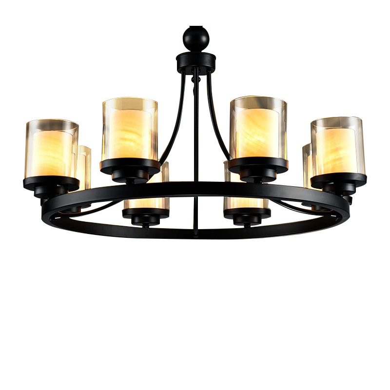 Retro industry modern minimalist retro Iron Chandelier ring lights round American village living room lights restaurant ZX182 цена и фото