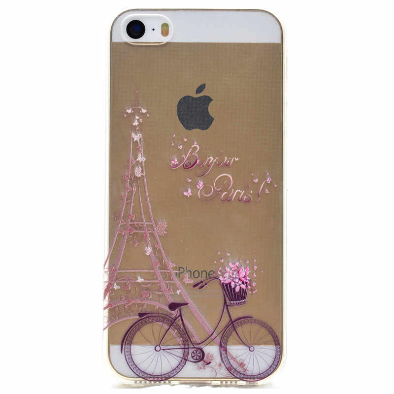 3128c8d84a ... Transparent TPU Cover For iPhone 5S SE Case Fashion colour decoration Tower  bike Butterfly Girl Feather ...