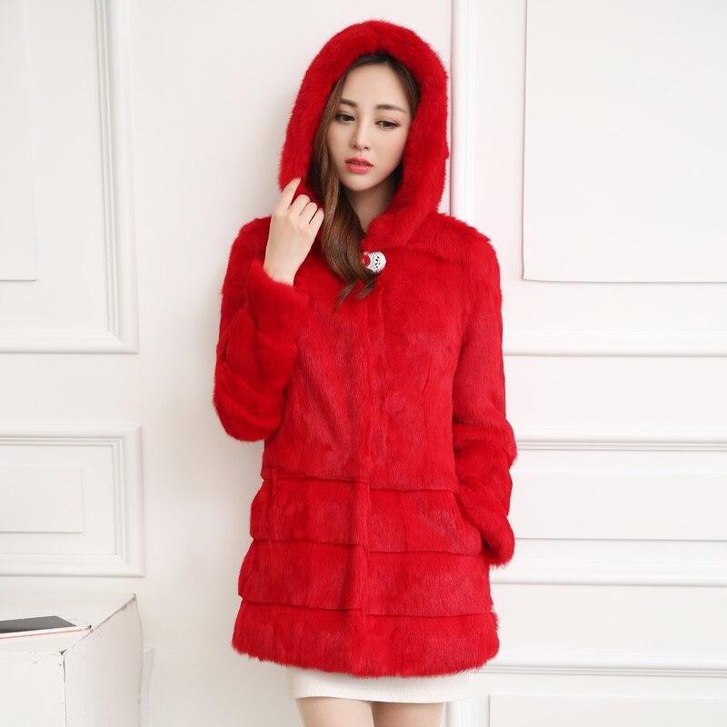 Волнистое пальто с капюшоном, тонкая Длинная женская куртка с кроличьим мехом, верхняя одежда, женская меховая куртка, новая осенняя и зимня
