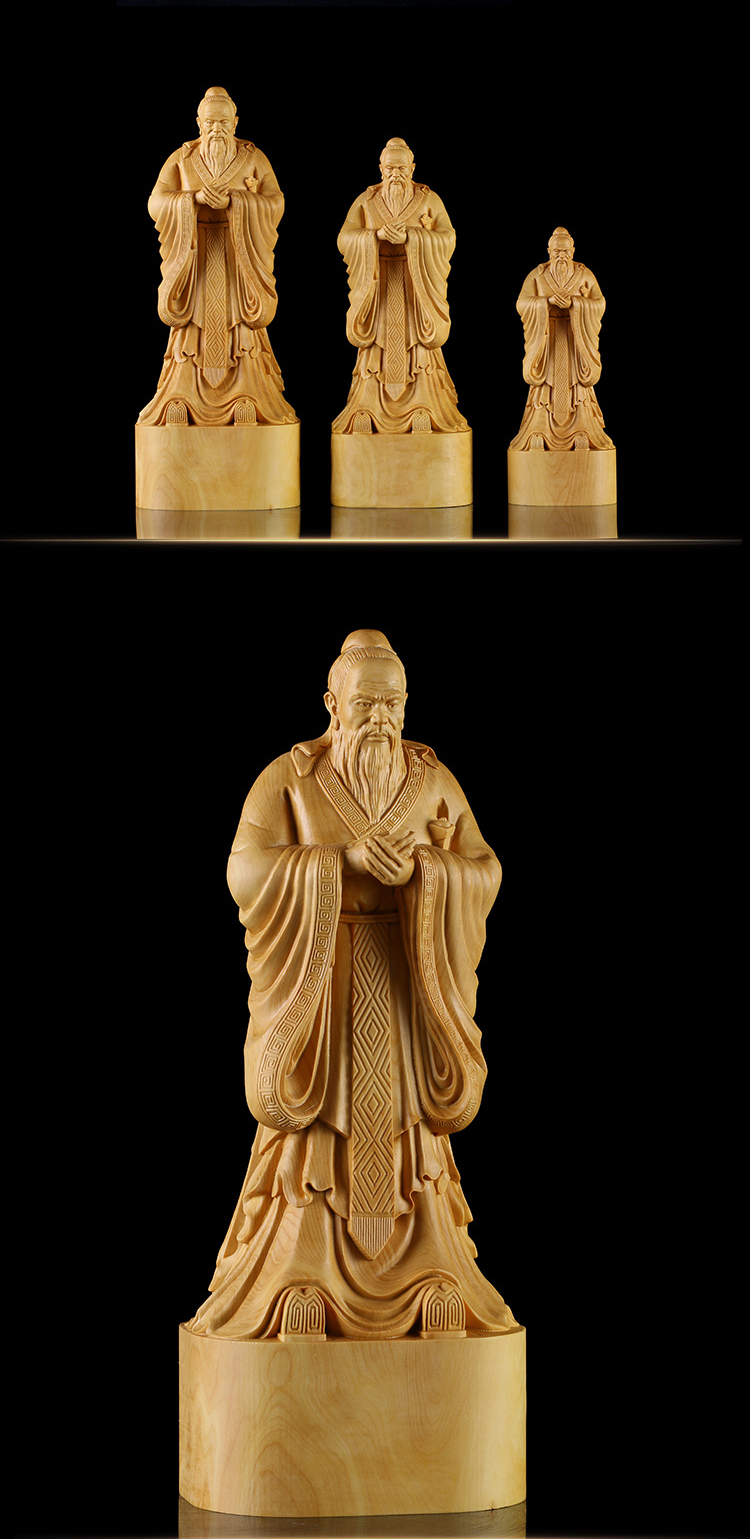 Institute Chinese Traditional Culture Gift Figures Carving Crafts Confucius statue Wood Figurine