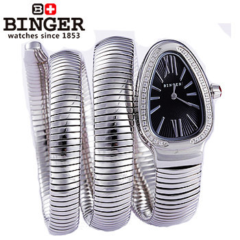 Binger Star Style New arrive fashion snake steel watchband roman dial quartz watch women retro watches retro rhinestone jewelry