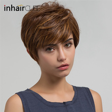 Imhaircube Synthetic Pixie Cut Women Wigs Natural Bangs Fluffy Layered Straight Blonde Highlights Heat Resistant Short Hair Wig