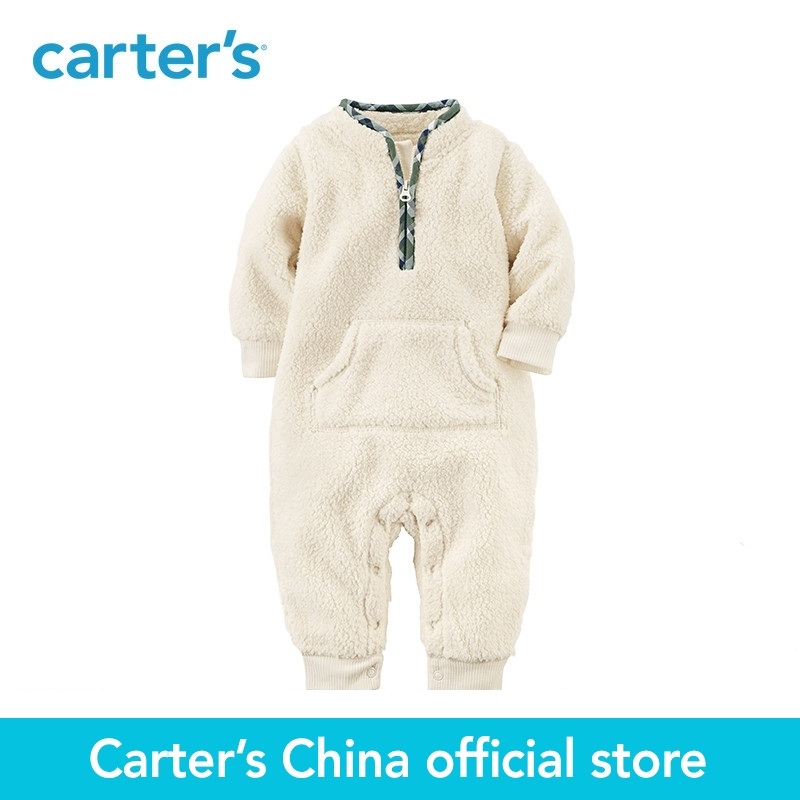 Carter's 1-Piece baby children kids clothing Boy Fall Ivory Sherpa Jumpsuit 118H680