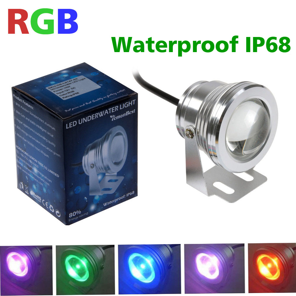 5pcs/lot DC 12v led rgb underwater light waterproof 10w IP68 swimming pool fountain aquarium fish tank pond lamp Waterproof