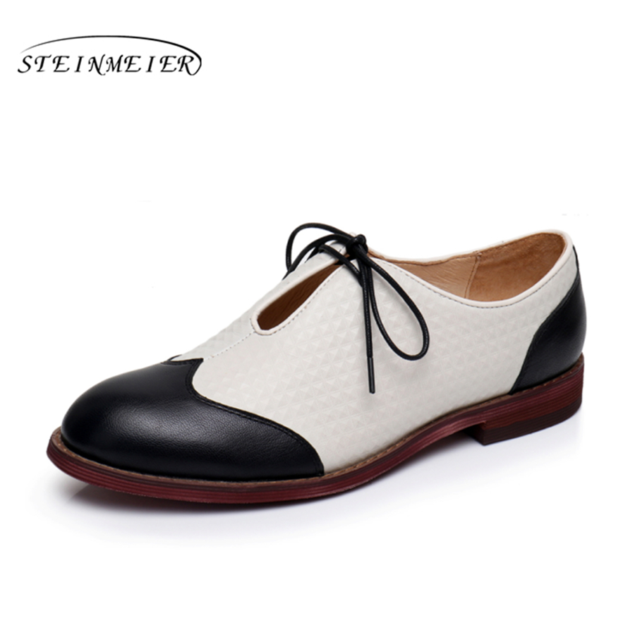 Genuine leather woman size 9 designer yinzo vintage flat shoes round toe handmade black beige oxford shoes for women 2017 genuine leather flat shoes women size 8 yinzo handmade beige brown vintage round toe british oxford shoes for women 2017