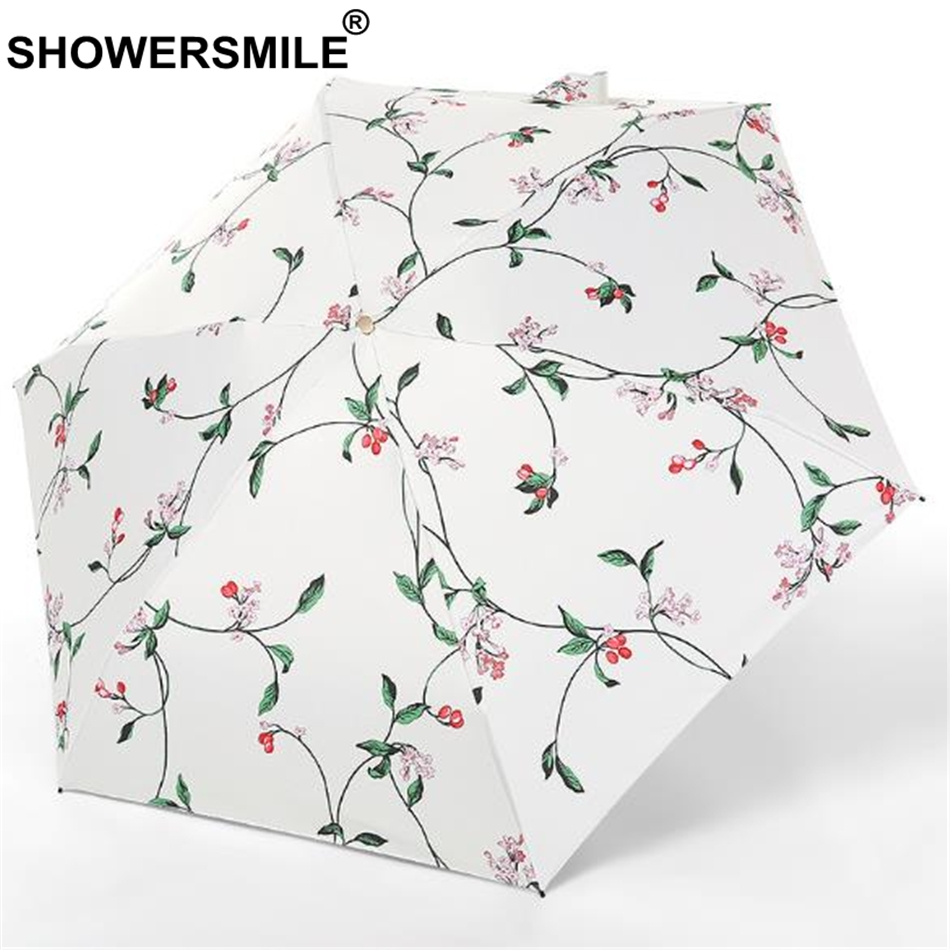 SHOWERSMILE Lightweight Folding Umbrella 5 Fold Uv Protection Pocket Parasol Print Women Black Coating Sun Rain Travel Umbrella in Umbrellas from Home Garden