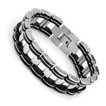 Fashion Steel Man Bracelet Casual 304L Stainless Steel Bracelet & Bangle 210mm Men's Jewelry Strand Rope Charm Chain Wristband