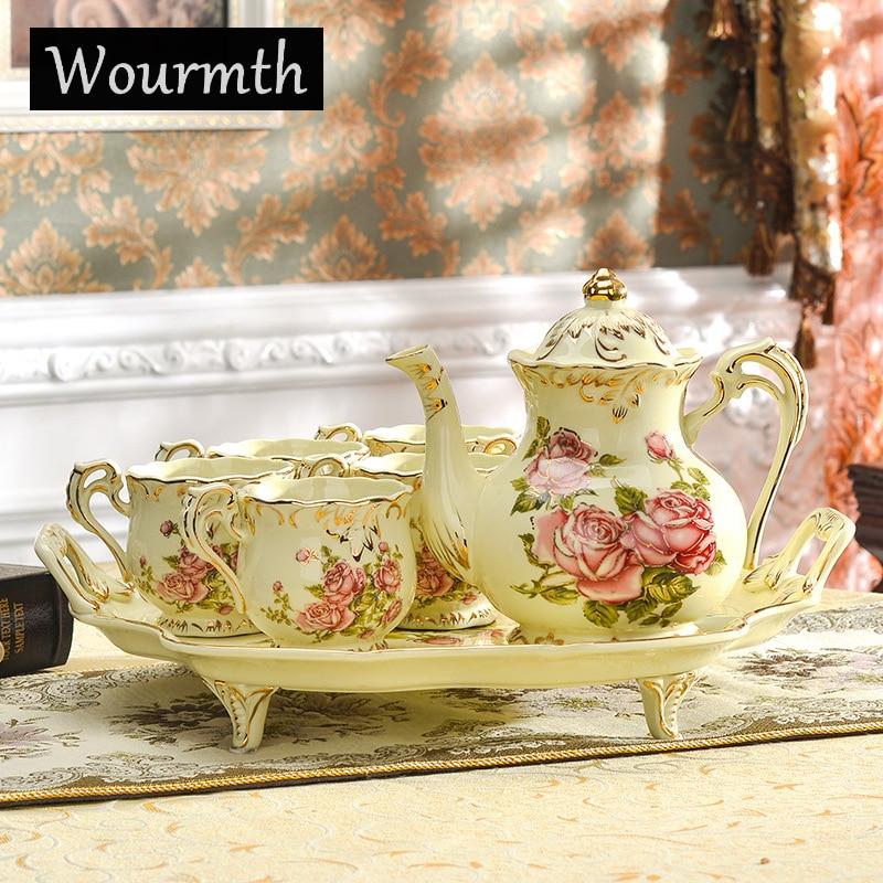 Wourmth luxueux en or os chine thé ensemble Style britannique célèbre marque porcelaine café ensemble avec plateau de thé cadeau de mariage