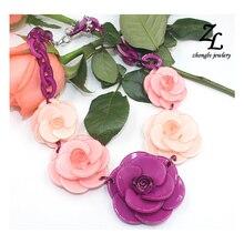 Collares de acrílico gargantilla collar de flores 2017 ZHONGLV Joyería Lujo de La Marca ZA Collares Declaración de Cadena de acrílico del color para las mujeres