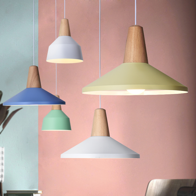 цены Modern pendant light Wood and aluminum lamp colorful restaurant bar coffee dining room LED hanging light fixture