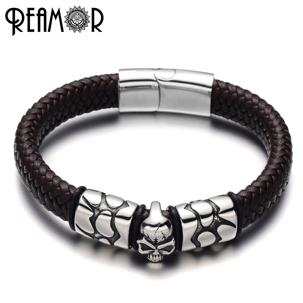 REAMOR 316L Stainless Steel Bangle Crack Skull Head Style Charms Bracelet Wide Braided Leather Rope Male Bracelet Trendy Jewelry
