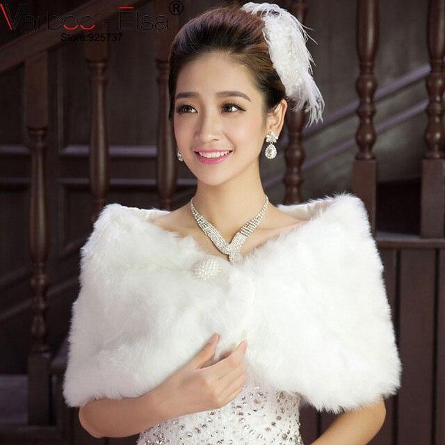 Hot Sale Winter Wedding Bridal Bolero Shawl white Fur Faux Coat ...