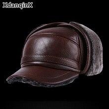قبعة شتوية من الجلد للرجال قبعات بيسبول سميكة من جلد البقر مع آذان قبعات تدفئة للأب سناباك Sombrero De Cuero Del Hombre