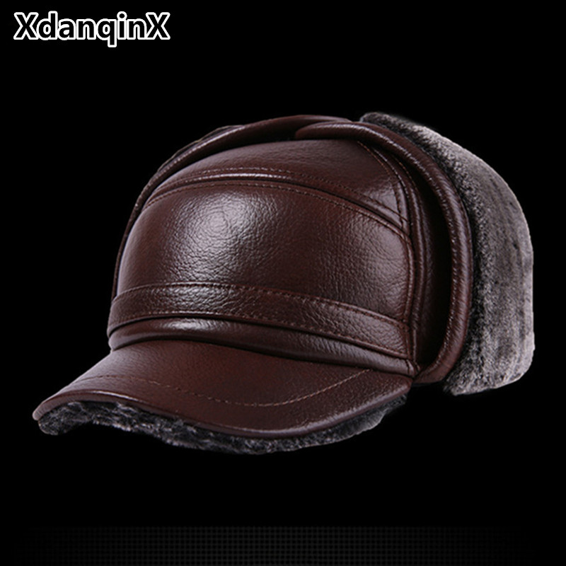 Winter Men's Leather Hat Thicken Leather Cowhide Baseball Caps With Ears Warm Snapback Dad's Hats Sombrero De Cuero Del Hombre winter women beanies pompons hats warm baggy casual crochet cap knitted hat with patch wool hat capcasquette gorros de lana