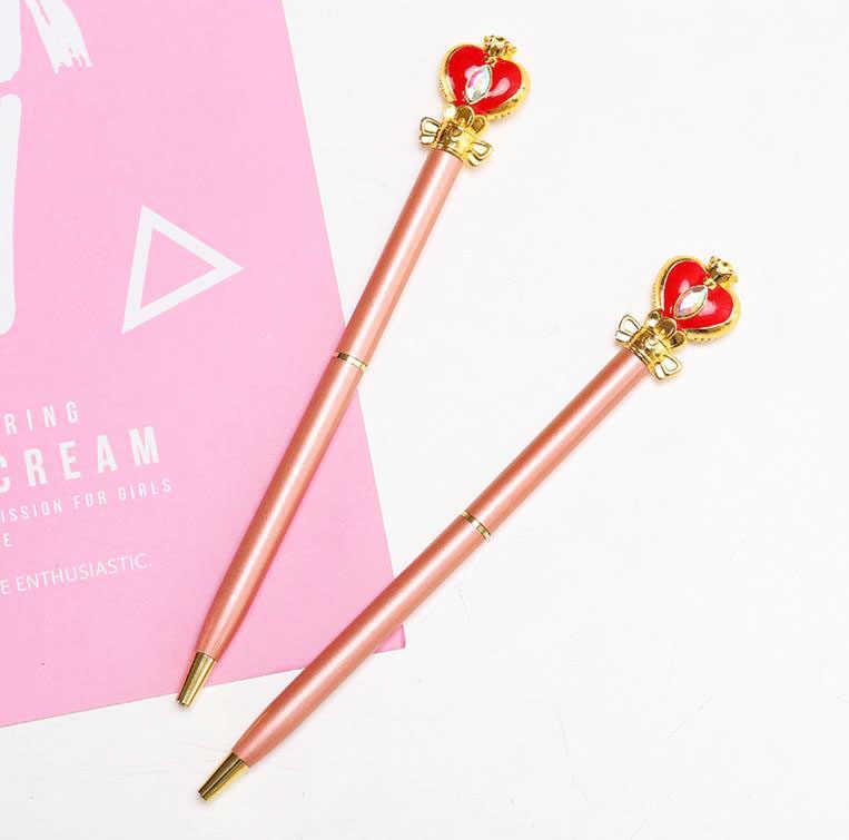 1 Pcs 인기있는 애니메이션 마술 지팡이 선원 문 보석 0.5mm 볼펜 공 펜 Ballpen 학교 편지지 학생 키즈 선물