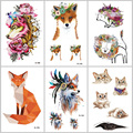 WYUEN Fox Cat Temporary Tattoos on The Body for Women Man Lion Horse Flower Fake Tattoo 9.8X6cm Waterproof Tatoo Sticker A-091