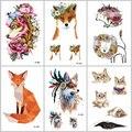 WYUEN Fox gato tatuajes temporales en el cuerpo para hombre mujer León caballo flor tatuaje falso 9,8X6 cm impermeable etiqueta engomada del tatuaje A-091