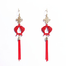 2019 New Tassel Earrings Vintage Chinese Style Lantern Year Festive Blessing Red Long Women Jewelry
