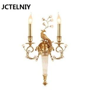 צרפתית נחושת קריסטל מנורת קיר רקע סלון מנורת חדר שינה מנורה שליד המיטה יוקרה מלון וילה מסדרון מעבר מנורות