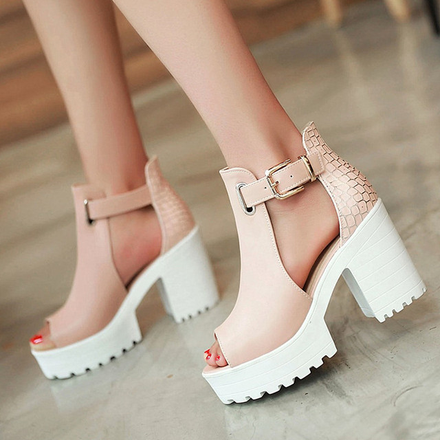 1f1ef8f906a 2017 Summer Women Peep Toe Chunky Heel Sandals Fashion Buckle High Heel  Platform Gladiator Shoes Women. Mouse over to zoom in