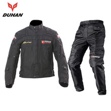 DUHAN Professional Men's Motorcycle Motocross Off-Road Racing Jacket Body Armor+ Riding Pants Clothing Set black blue red