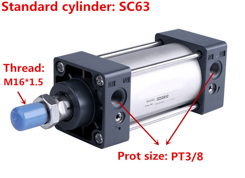 Free shipping high quality SC63 series bore 25mm to 1000mm stroke Standard cylinder air pneumatic cylinder