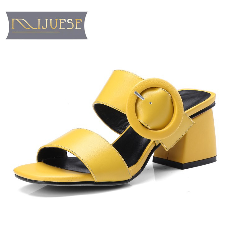 MLJUESE 2018 women slippers cow leather buckle strap yellow color open toe slides sandals beaches sandals