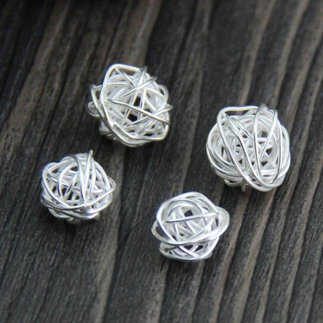 925 Thai silber Garn ball gewickelt Perlen runde silber draht spacer ...