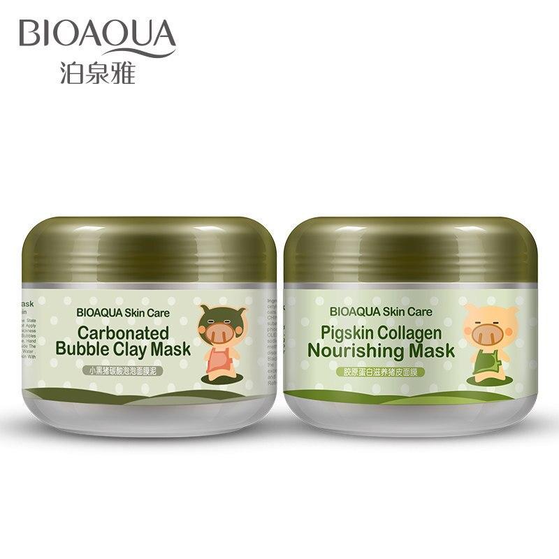Bioaqua 2 pçs/lote Rosto Máscara de Porco Máscara Nutritiva Máscara de Colágeno da pele de Porco Carbonatadas Bolha Argila Máscara Ilumine Hidratante Conjunto de Cuidados Da Pele