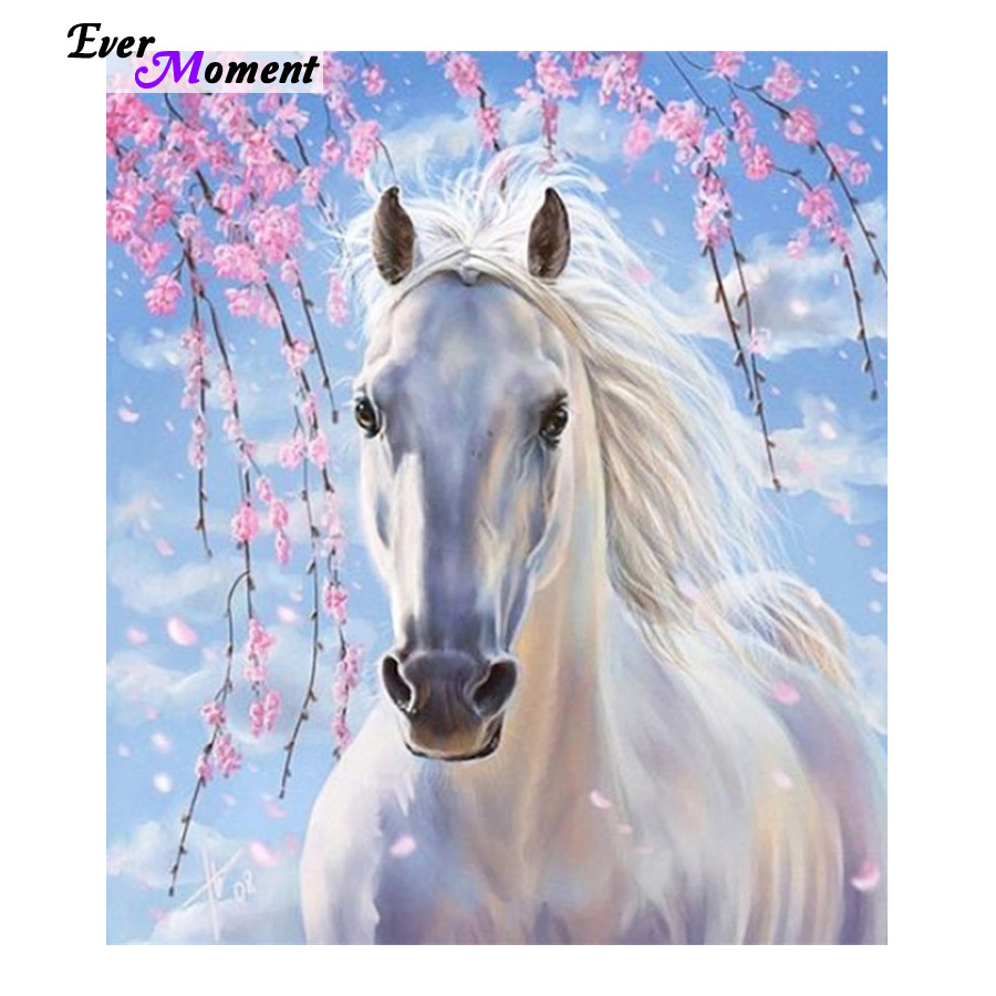 Fashion Decoration DIY Diamond Embroidery White Horse Flower Painting Modern Style Handmade Cross-Stitch Kit Resin craft ASF429