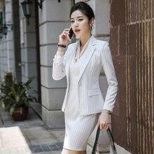 2019 Formal elegante de las mujeres blanco chaquetas + vestidos trajes de  las señoras de la Oficina vestido de chaqueta conjunto. 4f94e1803981
