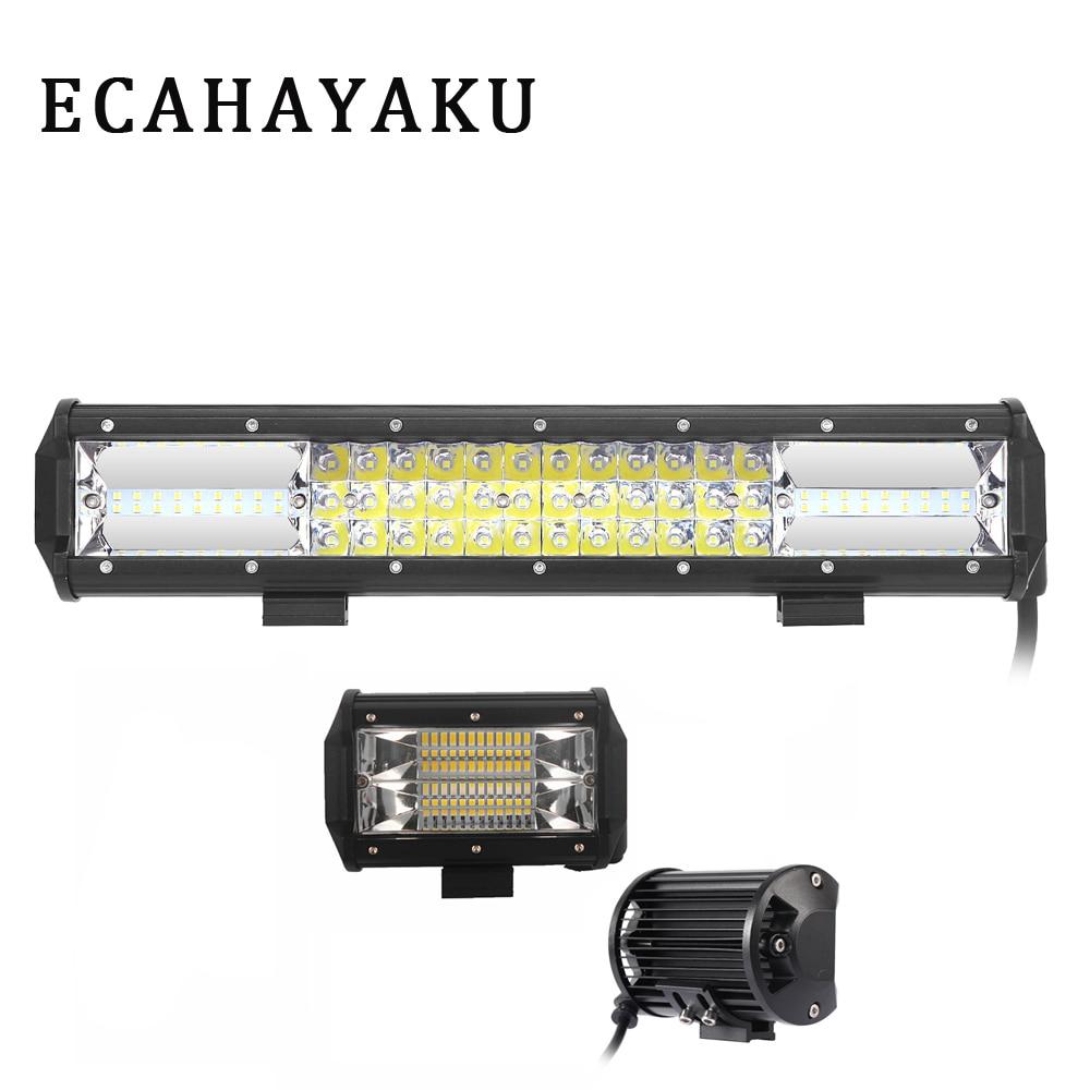 1pcs 15 inch 3-Row Led light bar 216W 21600lm Combo Beam 2pcs 5inch Dual LED Bars for off-road driving SUV ATV Pickup trucks 12v