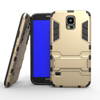 Armor Case for Samsung Galaxy S5 I9600 Heavy Duty Hybrid Hard Rugged Silicone Rubber Phone Back Cover Coque + Stand Function (
