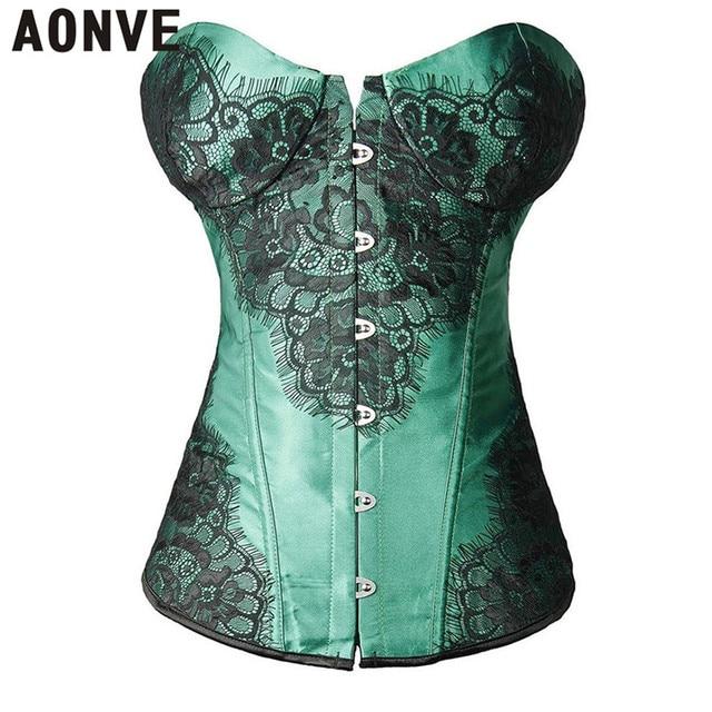 f3e5785035 AONVE Steampunk Corset Sexy Shoulderless Corselet Gothic Women Waist Trainer  Lace up Clubwear Korset bustier Partywear